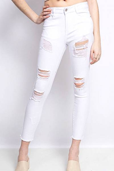 Ripped Skinny Jeans - λευκό